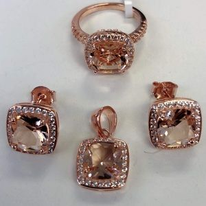 Jewelry - sterling silver 925 simulated morganite cz sets